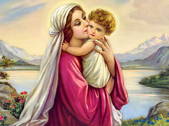 Mother Mary and Baby Jesus Image