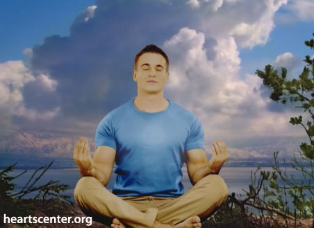 muscle guy meditating outside