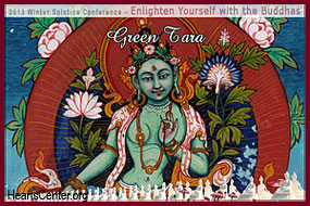 Green Tara: Conceptualize Your Two Eyes Becoming One at the Center of Your Brow