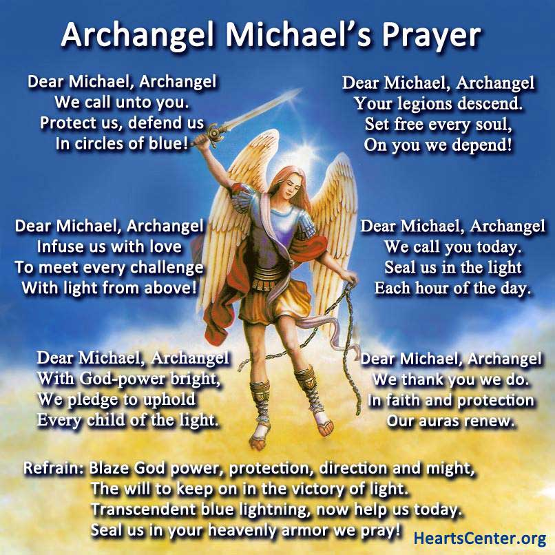 image about St. Michael the Archangel Prayer Printable titled Archangel Michael and All of Heaven Praise the Clean Rosary of