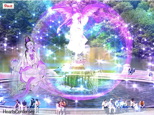 Kuan Yin by fountain